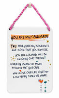 You Are My Soulmate Inspired Words Tin Hanging Plaque Sentimental Gift Range