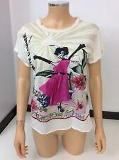 Lanvin Women's Short Sleeve T Shirt Top Size S Uk 8/10 Silk Blend