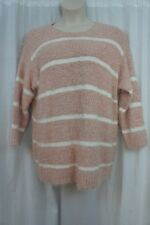 Calvin Klein Woman Sweater Sz 3X Blush Creme Striped Fuzzy Chenille Knit Scoop