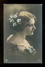 Women real photo postcard RPPC flowers European Style 3667/68 Vintage 1915