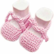 Scarpine cotone neonato realizzate a mano a maglia - rosa