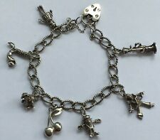 BEAUTIFUL VINTAGE STERLING SILVER CHARM BRACELET WITH PADLOCK TWISTED ROPE CHAIN