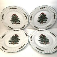 4 CHRISTMAS VILLAGE CHRISTMAS DINNER PLATES CHRISTMAS TREE AND HOLLY  10 1/2''