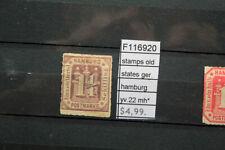 STAMPS OLD STATES GERMANY HAMBURG YVERT N°22 MH* (F116920)