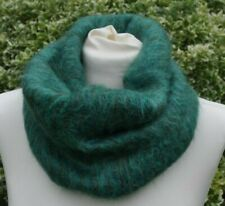 Cowl/snood neckwarmer in Mohair green with blue and khaki