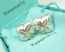 Rare Vintage Tiffany & Co Sterling Silver 18K Gold Ivy Starfish Earrings w/box
