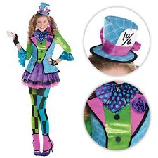 Mad Hatter Girls Fancy Dress Book Character Kids Alice in Wonderland Costume -