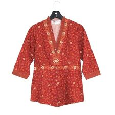Keris Fashion - S/M - Burnt Orange Floral Cotton - 3/4 Sleeve Ethnic Tunic Top