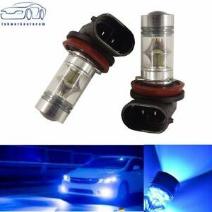 H9 H8 H11 H16 100W LED 8000K ICE BLUE 2323 Projector Fog Driving Light Bulbs NEW