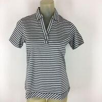 Kate Lord Performance woman's shirt athletic gray striped Size Small New