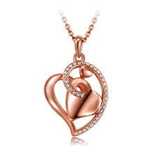 Strass Damen Collier Halskette/Anhänger Rose Gold Glücksbringer Herz Kristalle