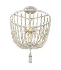 Wooden White Shabby Ceiling Light Fixture Beads Nursery Dressy Closet Hallway
