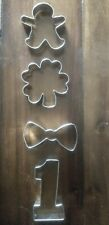 New listing Ann Clark Cookie Cutters 4 Pc Gingerbread man, 4 leaf clover. Bow tie , #1