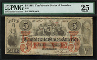 1861 $5 - T-31 / PF-1 - Confederate Currency CSA - Graded PMG 25 - Very Fine