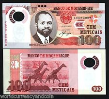 MOZAMBIQUE 100 METICAIS NEW 2011 GIRAFFE POLYMER UNC CURRENCY MONEY BANK NOTE