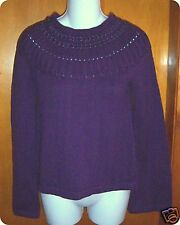 NWT Apostrophe Short Purple L/S Sweater Beaded Small