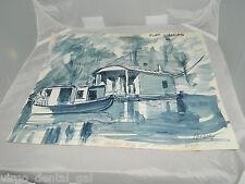 VTG Original Art John Bokeny Connecticut Artist Watercolor Bayou House Boat 1980