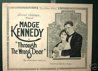 THROUGH THE WRONG DOOR,Theatrical  1919 Lobby Card!