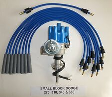 DODGE 273-318-340-360 BLUE Small Female Cap HEI Distributor & Spark Plug Wires