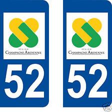 stickers autocollants plaques immatriculation auto Département Haute Marne 52