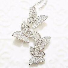 Gorgeous 18K White Gold Diamond Butterfly Pendant Cluster Chain Necklace WW41