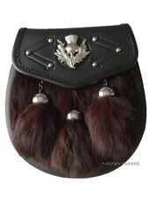 NEW Semi Dress Brown Fur Kilt Sporran & Chain with thistle Emblem