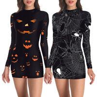 Women Halloween Pumpkin Spider Skeleton Cosplay Party  Short Mini Dress Costumes
