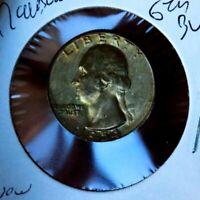 WASHINGTON SILVER QUARTER 1954 S GEM BU RAINBOW MS+++++++++