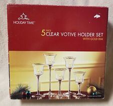 HOLIDAY TIME 5-Piece Clear Votive Candle Holder Set w/ Gold Rim EUC in Box