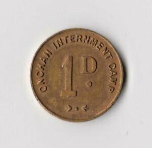 ONCHAN INTERNMENT CAMP ONE PENNY COIN - ISLE OF MAN 1d - MANX IoM WWII POW