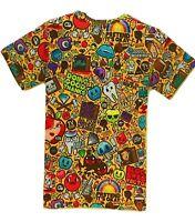 Cartoon Graffiti T-Shirt ( funny trippy drawings print printed colourful tee )