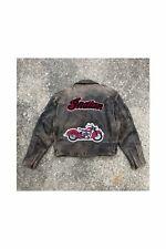 Vintage Brown Leather Indian Motorcycles Biker Jacket