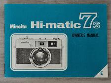 Minolta Hi-matic 7s owner's manual - notice d'utilisation - english
