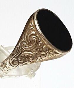 Art Deco Herren Ring 835 Silber 1960er Jahre Onyx Besatz RG 63/20,1mm /A259