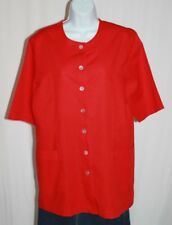 Peter Hahn Size 44 US 14 Red Cotton Linen SS Button Front Tunic Cop Pockets