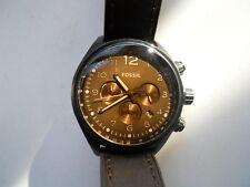 Fossil Chronograph men's brown leather quartz,battery,Analog dress watch.Ch-2782