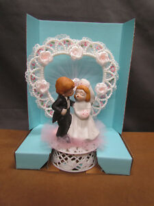Vintage Porcelain Wedding Cake Bride Groom Topper Figure Boy & Girl 1980's