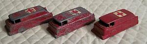 """3 Vintage Metal Red Ambulances Cars UNBRANDED - 3 3/4"""" long"""