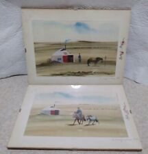 2 Mongolia Mongolian Nature Landscape Nomad Countryside Watercolor. Signed