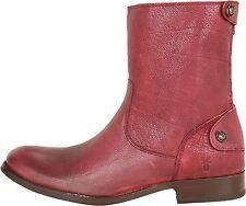 FRYE Melissa Button Zip Short Ankle Leather Boot Wine Antiq Soft Full Grain US 6