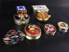 Lot 8 Boîtes a  Pilules Bijoux Vintage en porcelaine, laiton, émaux , céramique