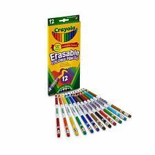 Crayola 12 Erasable Non Toxic Colour Pencil | Kids Children Arts Craft Travel