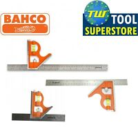Bahco Combination Set Square Stainless Steel Ruler Packs Level 150mm 300mm 400mm