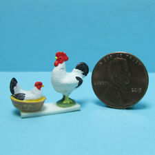 Dollhouse Miniature Painted Rooster and Hen Dish Set Black & White CAR0016
