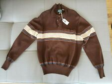 """Men's Haband Brown Striped Polo Sweater Vintage """"I'm Dying Up here"""""""