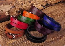 G557 Lot 8PC Biker Mens Classic Double Wrap Leather Cowhide Buckle Bracelet Cuff