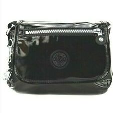 Kipling SABIAN SHINY BLACK SMALL CROSSBODY MESSENGER FLAP BAG NEW