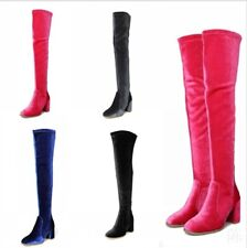 Womens Velvet Over The Knee High Boots Block Heel Thigh High Long Shoes Clubwear
