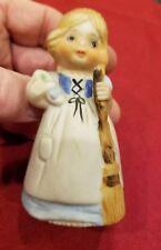 1978 Jasco Cinderella Figure Girl Broom Glass Slipper Bell - Porcelain (1218)