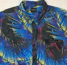 GUESS Mens S/s Shirt XL X-large Slim Fit Electric Palms Floral Multi-color